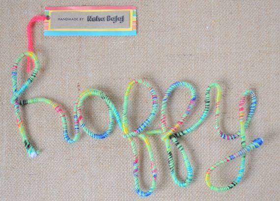 Happy  Wool Wrapped Letters in Spearmint by HandmadeByNehaBajaj
