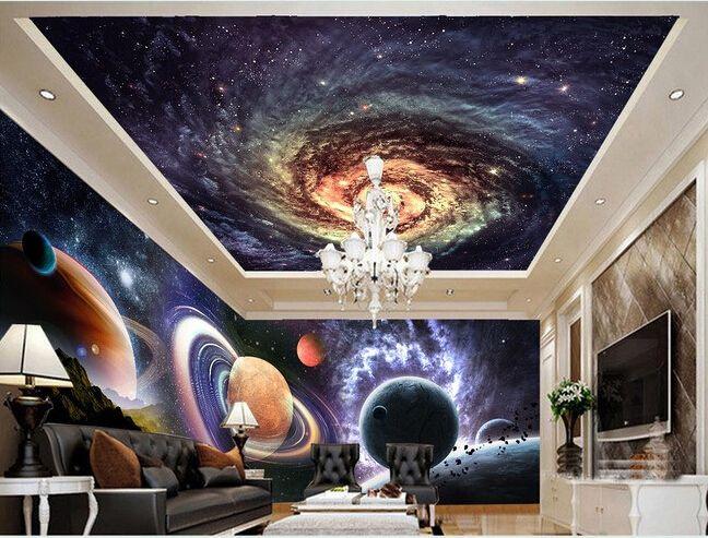 Пользовательские потолок обои, Звезда гостиной потолок гостиной настенные винил papel де parede