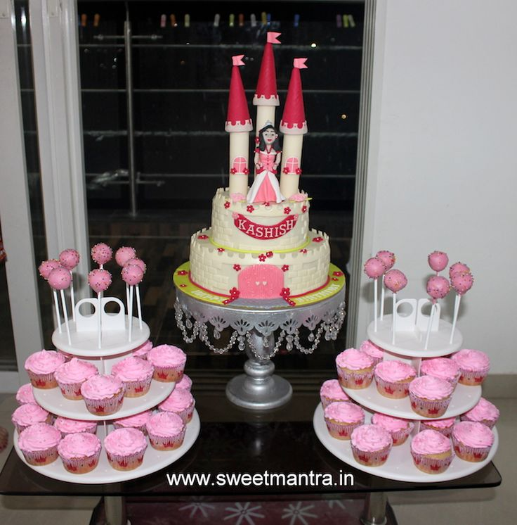 Princess theme dessert/sugar table for girl's 1st birthday at Hinjewadi, Pune