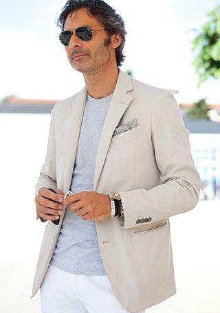 オヤジ×オフホワイトジャケットの着こなし(メンズ) | Italy Web