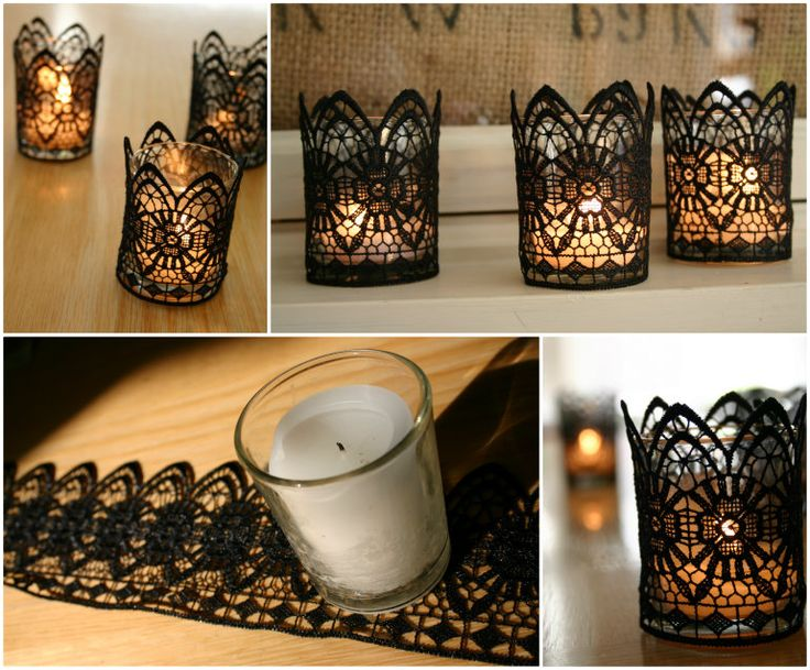 DIY Romantic Black Lace Candles,  add charm to your room or tablescape !  Check details--> http://wonderfuldiy.com/wonderful-diy-romantic-black-lace-candles/  More #DIY projects: www.wonderfuldiy.com