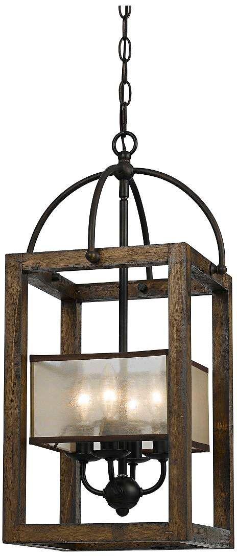 "Harper Wood 12"" Wide Iron Pendant Chandelier - #3F525 | Lamps Plus"