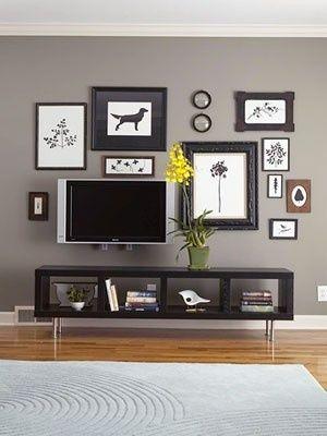 Living room -  benjamin moore asphalt - I am loving the grey walls with dark wood.