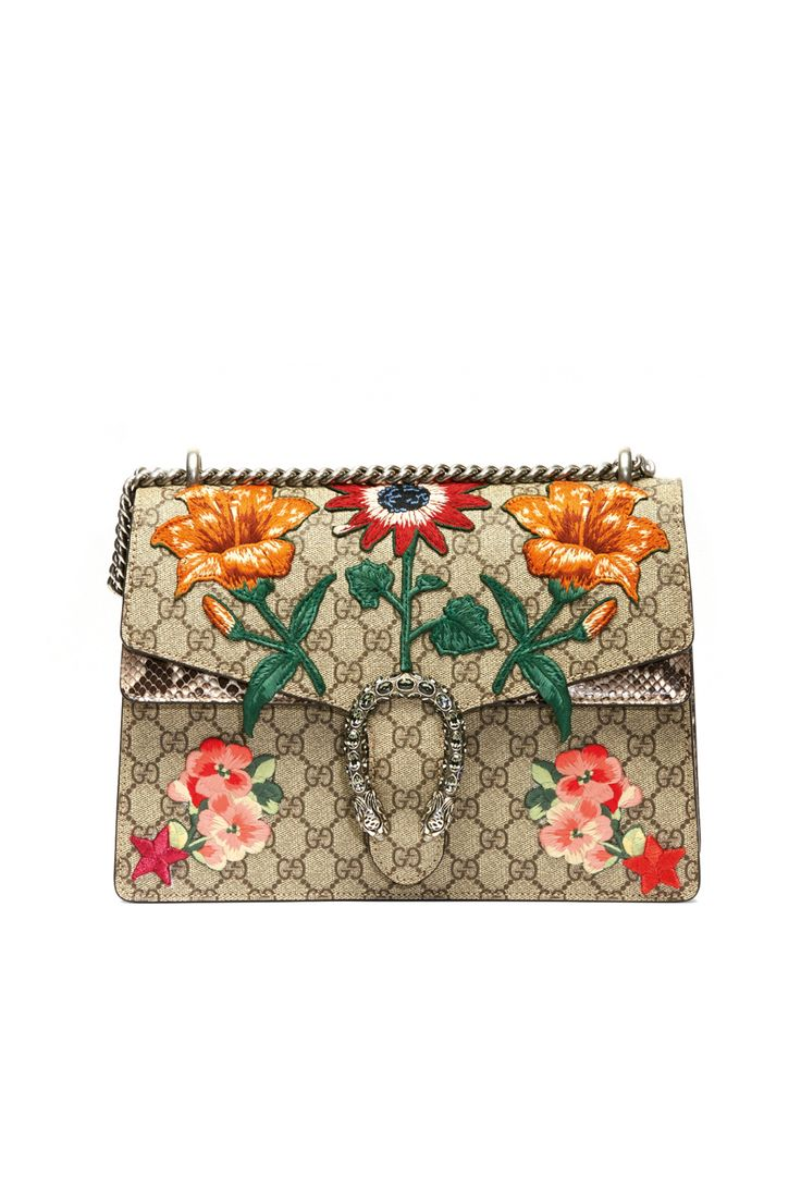 Flower trend alert - appliques adorn this Gucci bag