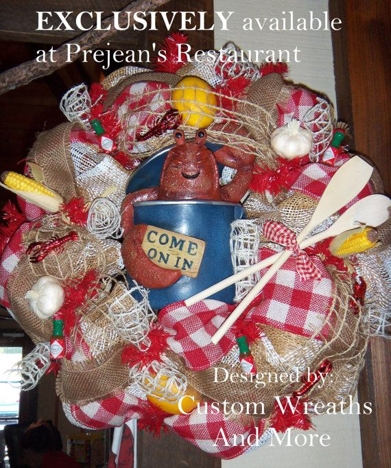Awesome Crawfish Wreath made to order just in time for the Crawfish festival in Breaux Bridge, Louisiana. Burlap, gingham ribbon, mesh, netting, corn on the cob, Tabasco, Swamp wreath, alligator wreath, crawfish wreath, lobster wreath, Louisiana wreath, Cajun wreath, crawfish boil decor, Louisiana decor, mothers day wreath, country wreath. etc made