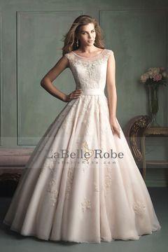 2014 Robe de mariée Bateau Une ligne embellies corsage de perles avec et Applique Tulle € 258.51 LBRPFELQZRF - LaBelleRobe.com