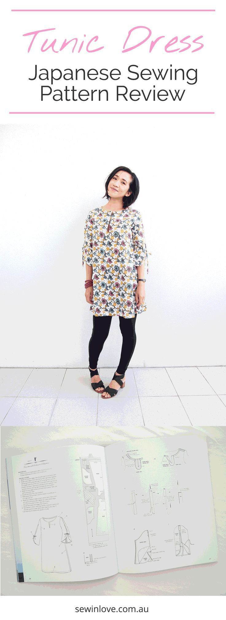 DIY Tunic Dress | This is from the popular Japanese sewing pattern book, Stylish Dress Book 1. I've made the front slit a little longer than the original design so I can breastfeed! Get my ebooks 15% off with this coupon: PINTEREST15