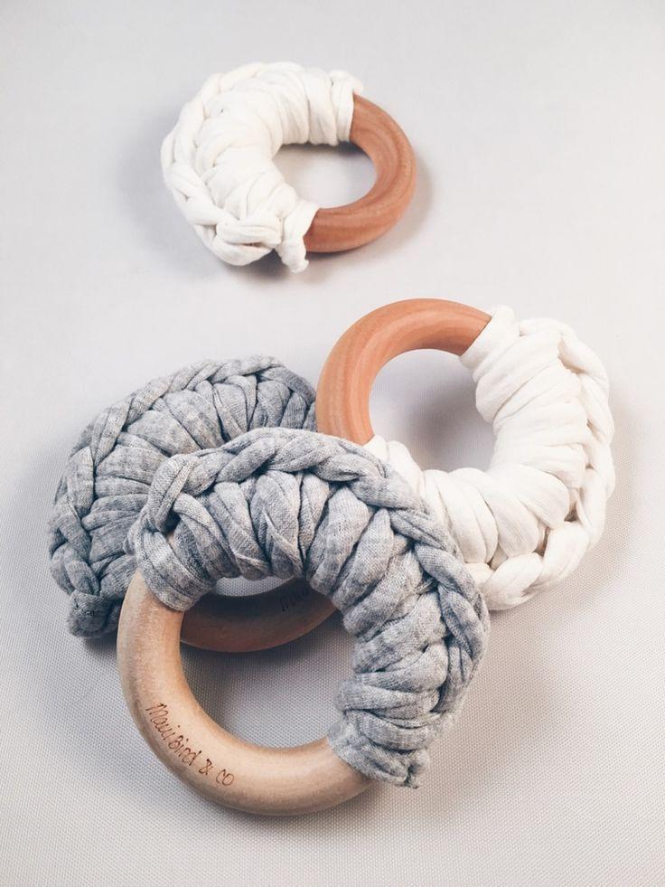 teething rings with bulky fabric or yarn crochet
