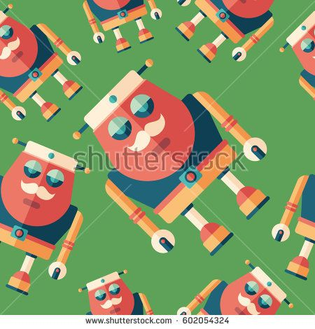 Robot sailor flat icon seamless pattern. #robots #robotics #vectorpattern #patterndesign #seamlesspattern
