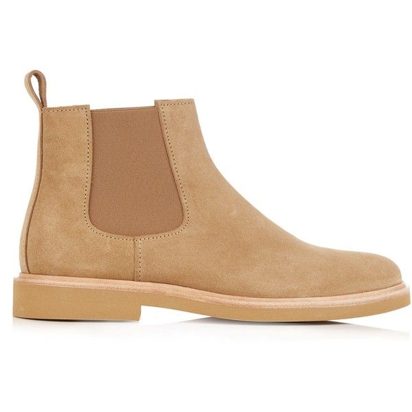 A.P.C. Grant suede chelsea boots (£215) ❤ liked on Polyvore featuring men's fashion, men's shoes, men's boots, mens suede boots, mens suede chelsea boots and mens suede shoes