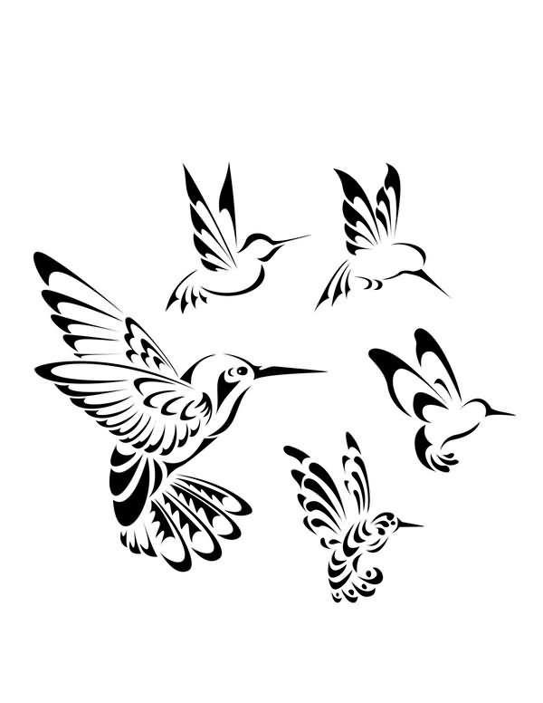 Interest tattoo ideas and design - Black Ink Tribal Hummingbird Tattoo Design…