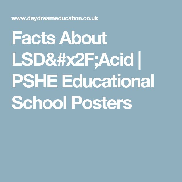 Facts About LSD/Acid | PSHE Educational School Posters