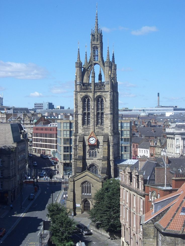 Newcastle Cathedral, (The Cathedral Church of St. Nicholas) rebuilt 1359 after fire 1216. Notable for its unusual lantern spire constructed 1448 which for hundreds of years was the main navigation point for ships using River Tyne. Interior badly damaged by Scottish invaders 1640.