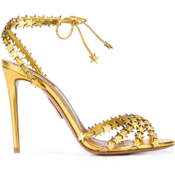 Aquazzura Gold Starlight 105 Sandals (€725) ❤ liked on Polyvore featuring shoes, sandals, gold, heels stilettos, high heel stilettos, strappy sandals, open toe stilettos and strap sandals