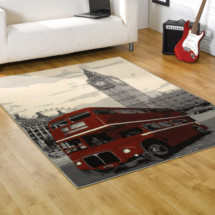 Funky rug with a red London bus design. Trendy rug in beige with a red bus and London scene. Cheap rugs online available from Chic at Home.
