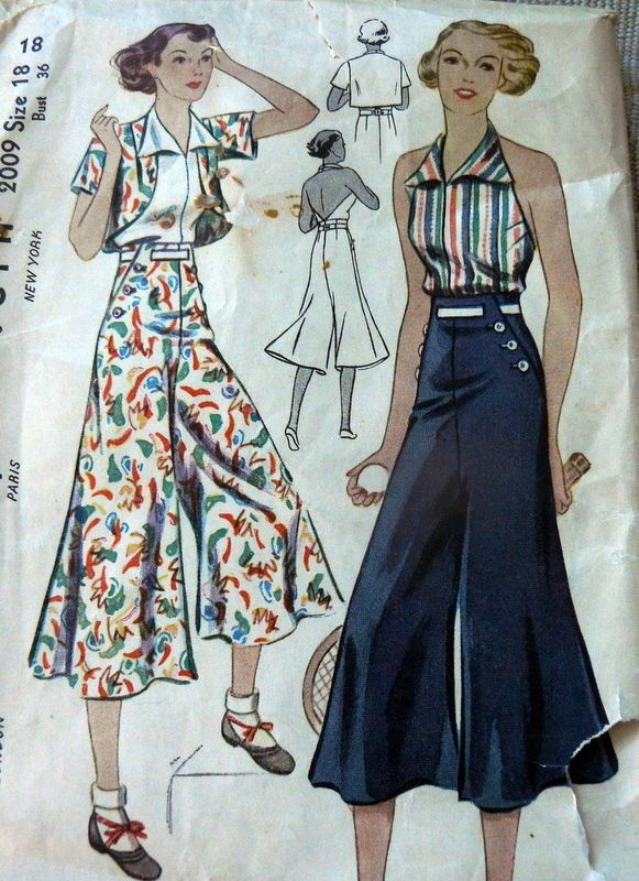Lovely Vtg 1930s Slacks Halter Bolero Sewing Pattern 18 36 | eBay