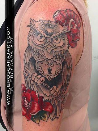 Neo Traditional Owl Tattoo  #Brisbane #Tattoo #Artist #Tattooist #owl