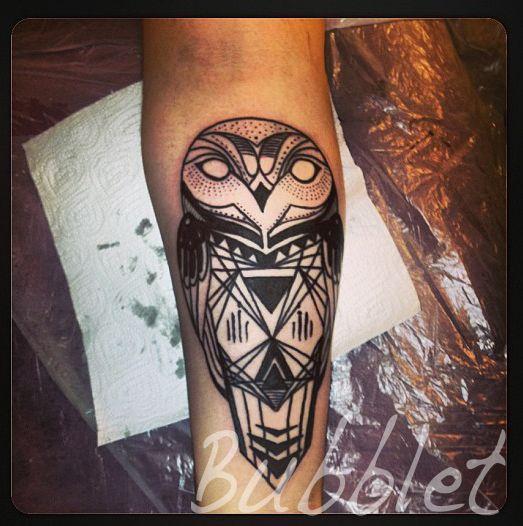 Black & Grey neo-traditional geometric, owl tattoo by Bubble.