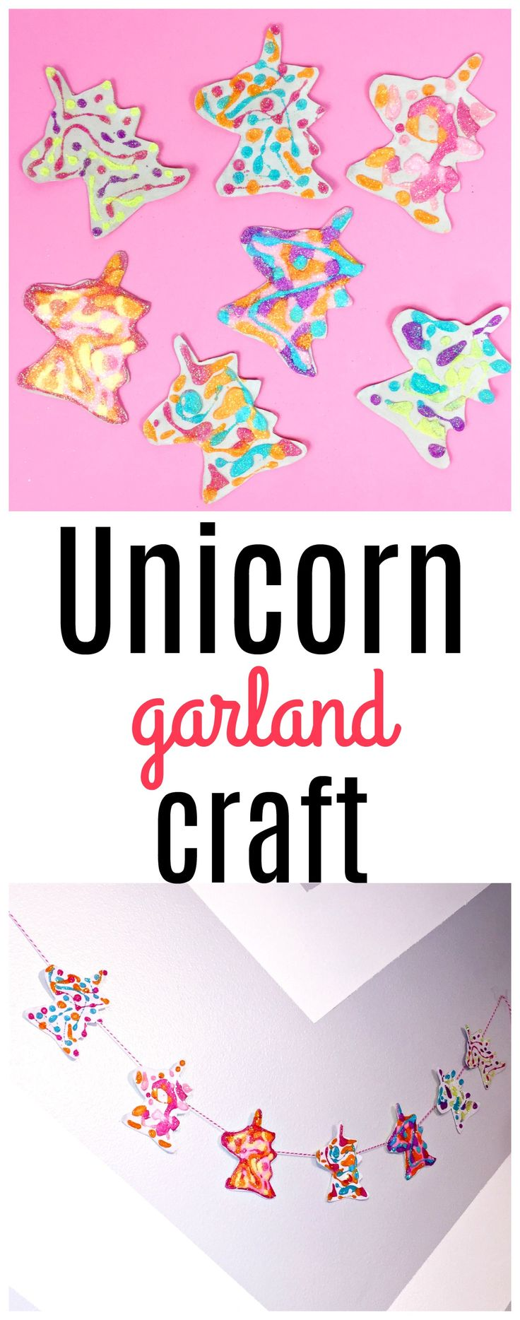 Upcycle a cereal box into a beautiful Unicorn Birthday Party Garland! This DIY unicorn birthday party garland craft is not just for parties! It would also make a fun craft anytime and would make a beautiful addition to your daughter's bedroom decor!
