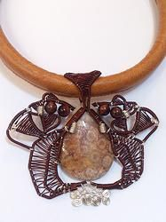 Fossilized Coral Leather Choker  -   'Flutter' @ solace-designs.com