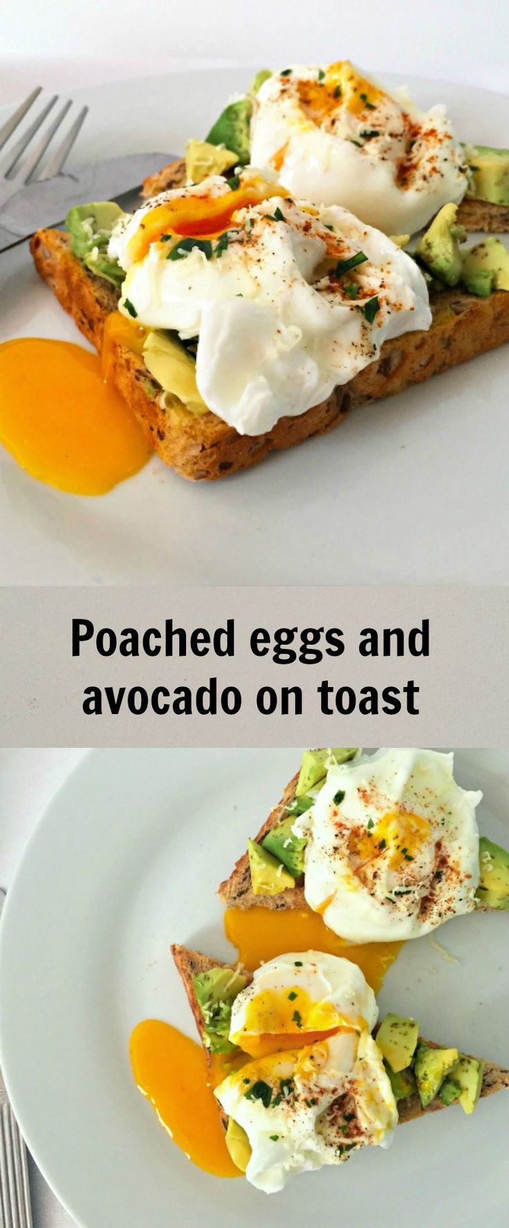 Poached eggs and avocado on toast, a healthy way to start your day. A very nutritious breakfast that will give you plenty of energy.