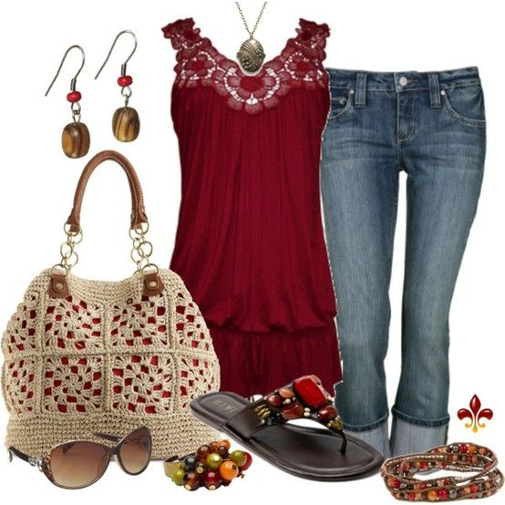 Crochet: Fashion, Summer Outfit, Red, Style, Purse, Color, Clothes, Shirt, Top