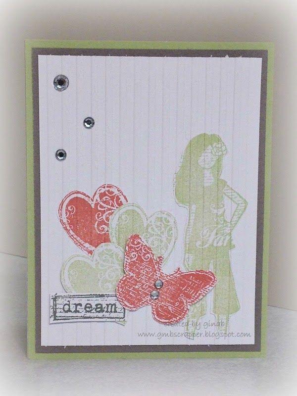 Dreamer stamp set and striped embossing folder - Gina's Little Corner of StampinHeaven