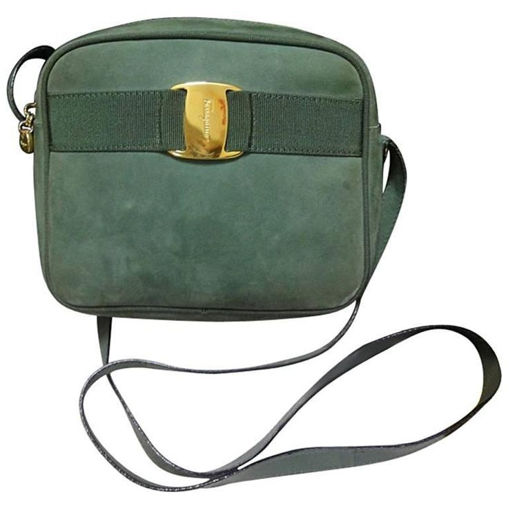 Vintage Salvatore Ferragamo vara collection green suede leather shoulder bag. 1990