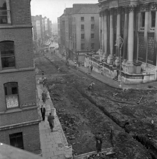 Dame Street during the removal of tram tracks and cobblestones.