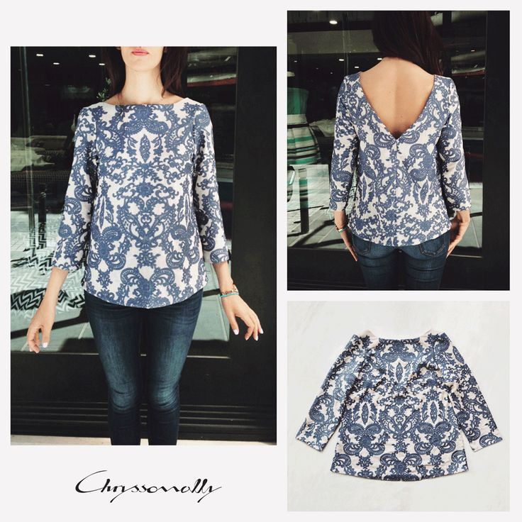 SARTORIAL   Chryssomally    Art & Fashion Designer - Boho chic blue and beige embroidery top