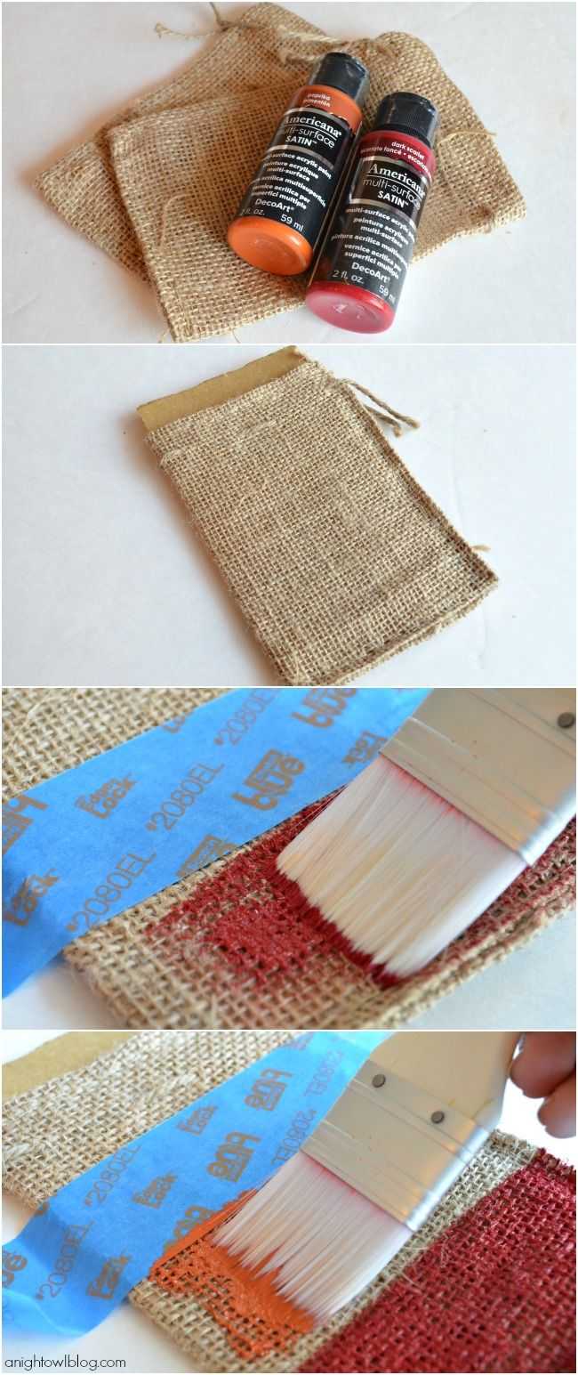 How to make Painted Burlap Thanksgiving Place Setting with Americana Multi-Surface Satins at anightowlblog.com