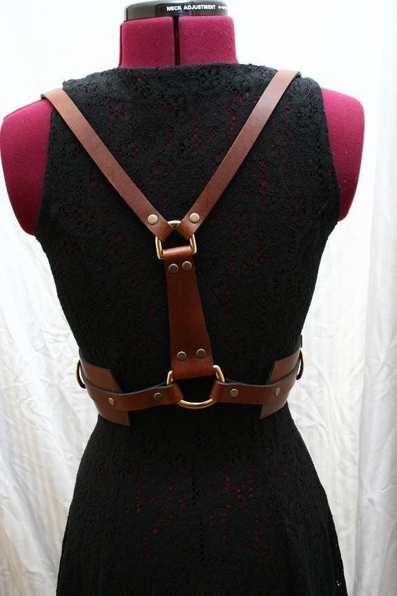 Zoe Leather Harness with Solid Brass Hardware Glam Bondage Fashion $225