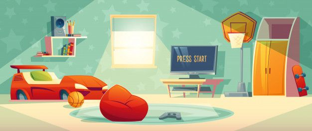 Download Game Console In Kid Room Vector Illustration For Free In
