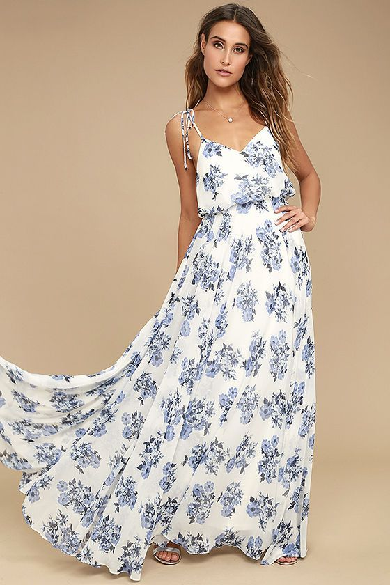 c8c8a1e918d Is it something in the air, or just how lovely you look in the Pollen for  You Blue and White Floral Print Maxi Dress that has us swooning?! A stunning  blue ...