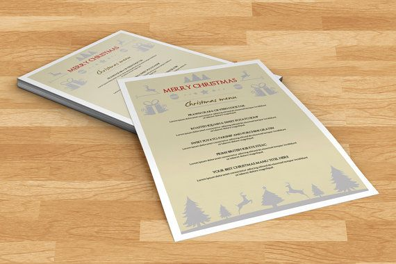 Christmas Menu Template  Holiday Party food menu  by TemplateStock