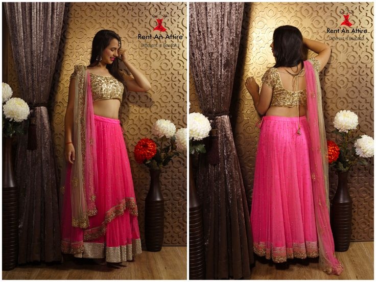 """Mesmerizing Neon Pink Net Lehenga, Finely Hand Embroidered with Cream Fully Embroidered Blouse & Duel Dyed Embroidered Dupatta"" Flaunt this lehenga & Make a striking style statement..!! ‪#‎RentAnAttire‬ Try it ♡ Book it ♡ Flaunt it"