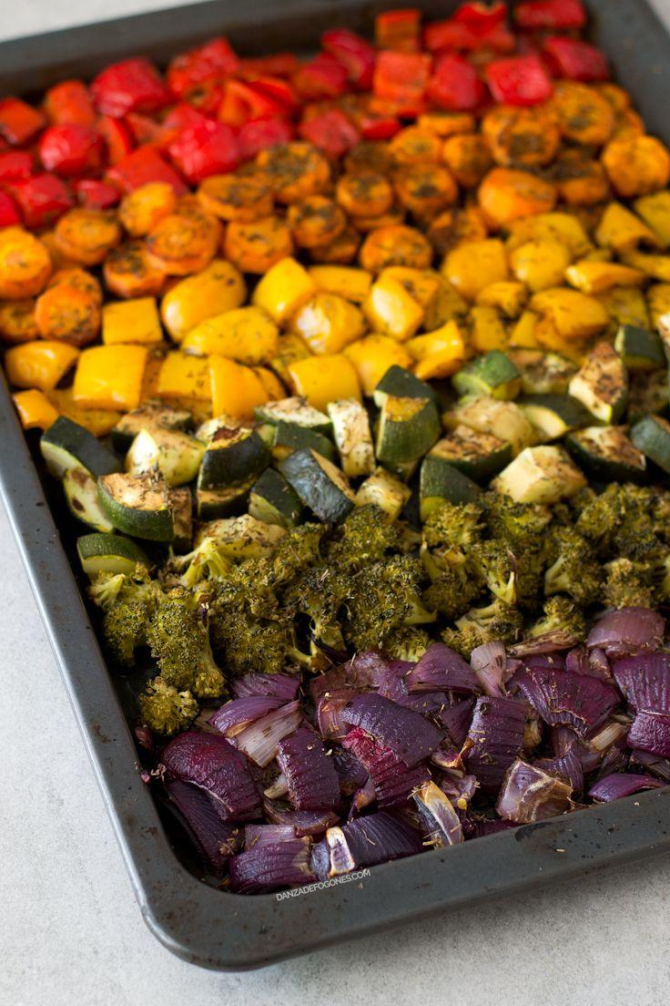 Precalentar horno 200°C. Vinagre de modena, aceite, tomillo y sal. 25-30 min al horno. Con quinoa y salsa tamari/soja
