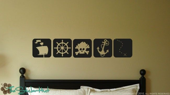 Pirate Squares - Nursery Decor - Toddler Decor - Home Decor - Wall Decals - Vinyl Wall Art Graphics Decals Stickers 1002 by thestickerhut on Etsy
