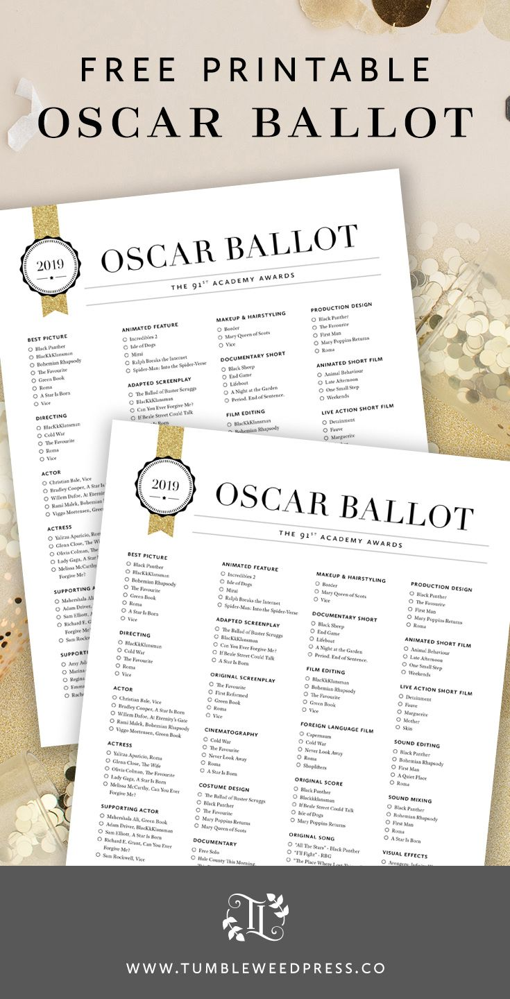 image regarding Golden Globe Ballot Printable titled Oscars 2019 Voting Sheet
