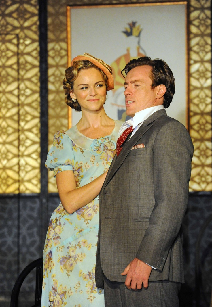 Toby Stephens (Elyot) and his off-stage wife Anna-Louise Plowman (Sibyl) play as on-stage married couple in the production of Private Lives at the Gielgud Theatre. (Photo by: Alistair Muir)
