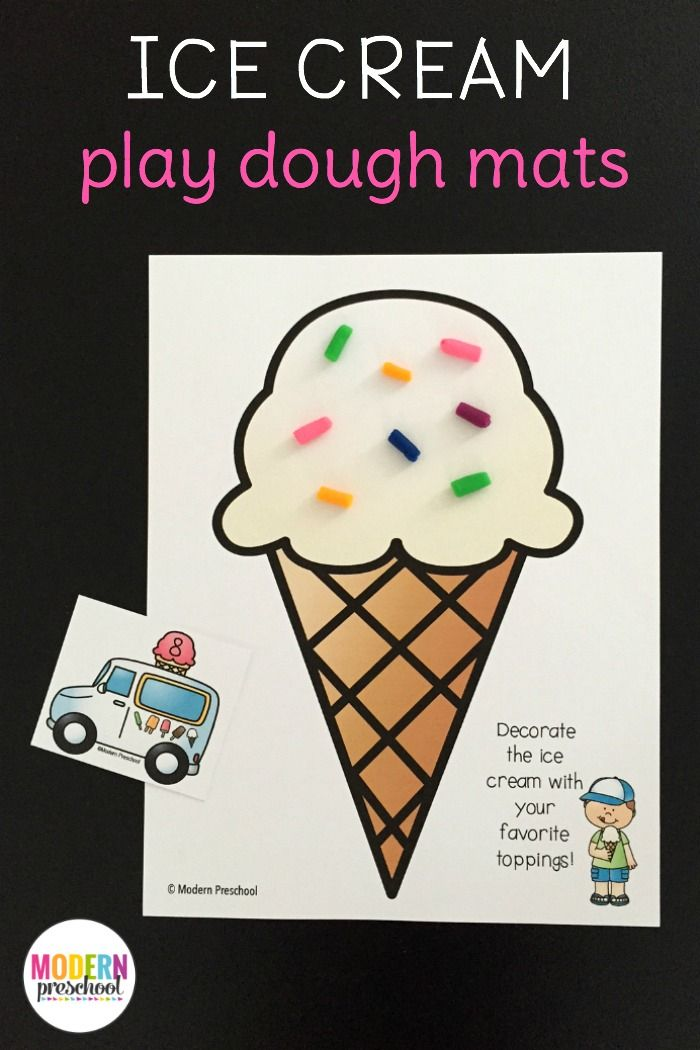 Free printable ice cream play dough mats for toddlers, preschoolers & kindergarteners to play and practice counting, numbers, fine motor skills!