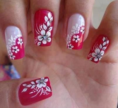Red White Flowers Nails