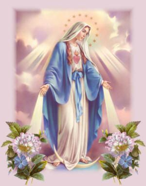 Blessed Virgin Mary picture decorated with flowers