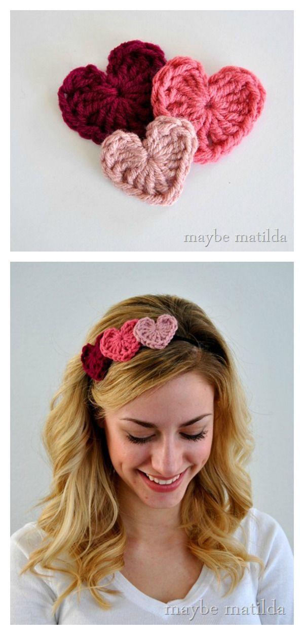 Crochet Valentine Hearts Free Pattern and Photo Tutorial
