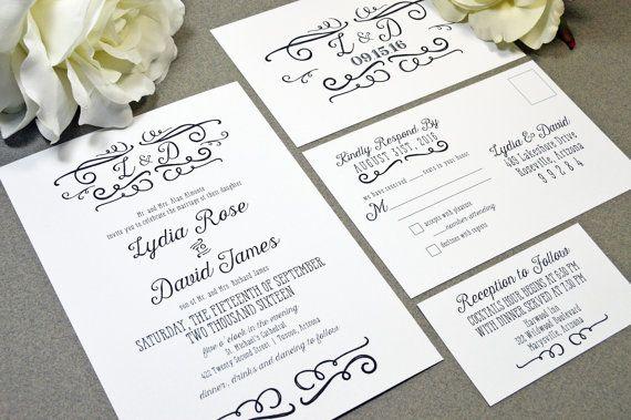 Handwritten Wedding Invitations Black and White Wedding Pocket Invite Rustic Wedding Invitation Suite Calligraphy Wedding Invites Monogram by RunkPockDesigns