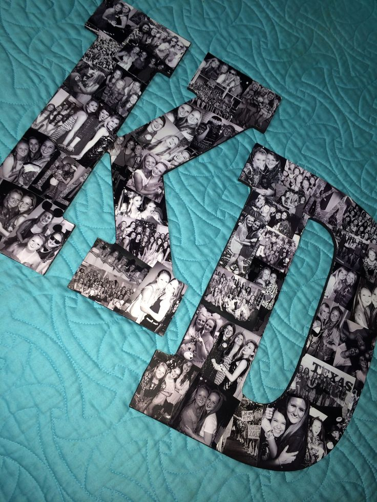 diy picture collage kappa delta letters modge podge black and white photos all over wooden