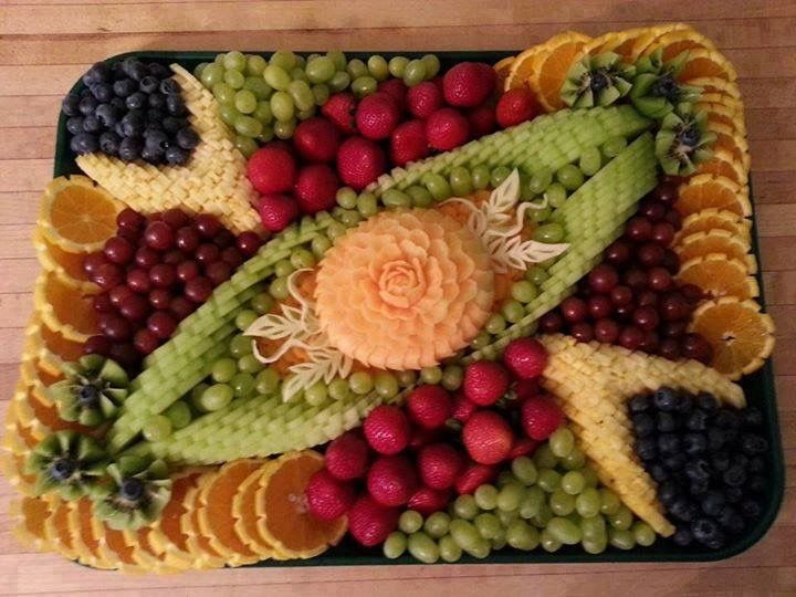 Beautifully Arranged Fruit- Oranges,Blueberries,Assorted Grapes,Cantaloupe,Strawberries,Pineapple, Kiwi & Honeydew Melon