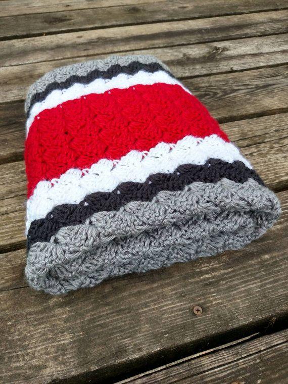 Ohio State Crochet Blanket  Ohio State by scarletngreycrochet