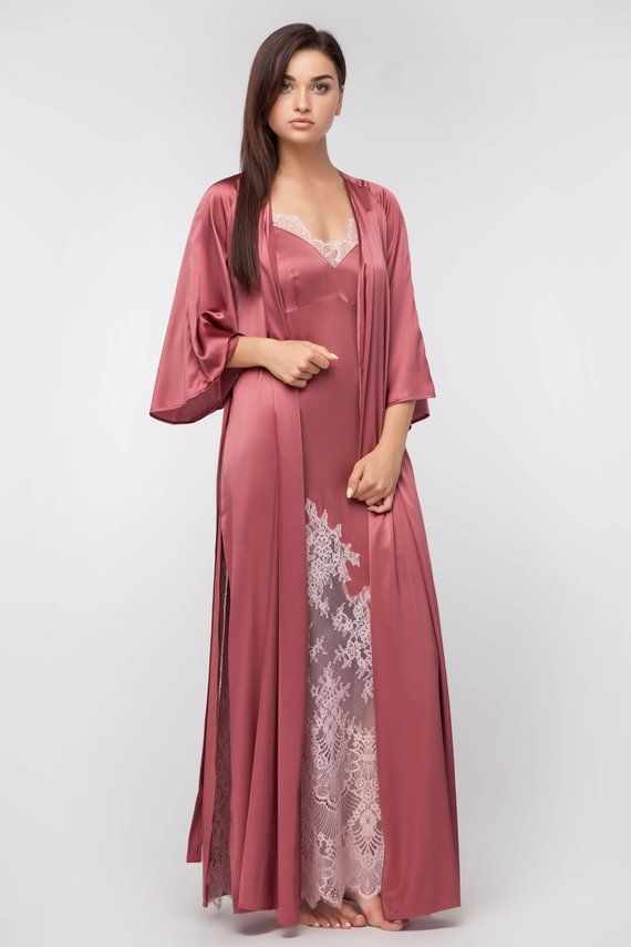 0b25eb5e2b0bb Lingerie Sef of Long Silk Robe and Long Silk Nightgown with Lace ...