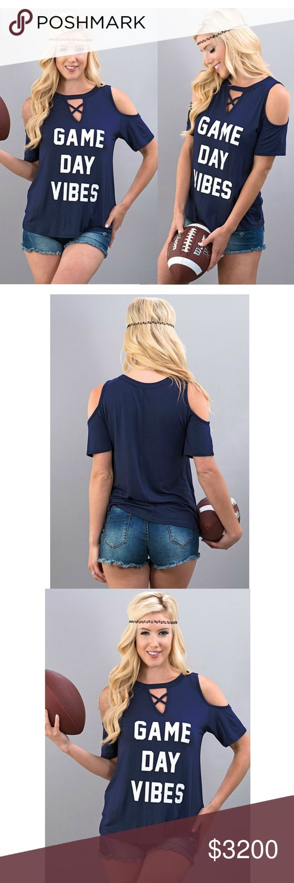 Coming Soon! Game Day Vibes Football Top Coming Soon! Game Day Vibes Football Cold Shoulder Top. Made in USA Happy Organics Boutique Tops Tees - Short Sleeve